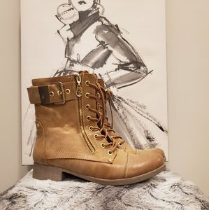 Guess Tan Combat Boots Gold Hardware